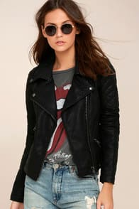 RIGHT ON BLACK VEGAN LEATHER MOTO JACKET at Lulus.com!