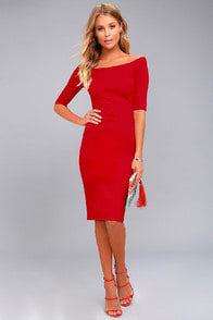 GIRL CAN'T HELP IT RED OFF-THE-SHOULDER MIDI DRESS at Lulus.com!