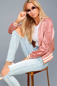 VARSITY SQUAD BLUSH SATIN BOMBER JACKET at Lulus.com!