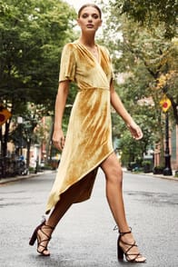 Amour Golden Yellow Velvet High-Low Wrap Dress at Lulus.com!