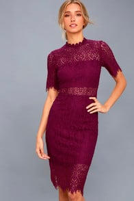 Remarkable Burgundy Lace Dress at Lulus.com!