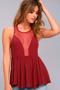 FREE PEOPLE BLACK MARBLE BERRY RED TANK TOP at Lulus.com!