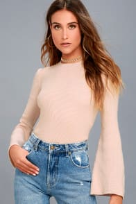 Idolized Love Blush Bell Sleeve Sweater Top at Lulus.com!