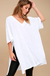 FREE PEOPLE CITY SLICKER WHITE TUNIC TOP at Lulus.com!