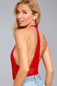 FREE PEOPLE AVERY RED LACE BODYSUIT at Lulus.com!