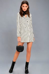 Blazin Black and White Striped Long Sleeve Dress at Lulus.com!