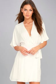 Sunday Sun White Wrap Dress at Lulus.com!