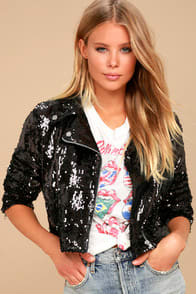 Bigby Black Sequin Moto Jacket at Lulus.com!