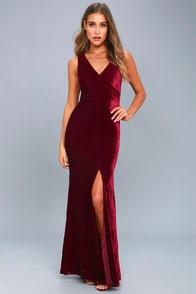 Crushin' It Burgundy Velvet Maxi Dress at Lulus.com!