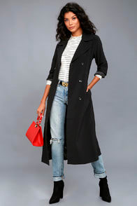 WORKDAY RUNWAY BLACK TRENCH COAT at Lulus.com!