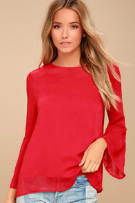 Meet Me in the City Red Long Sleeve Top at Lulus.com!