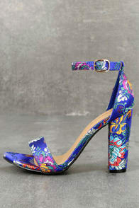 VEDA BLUE BROCADE ANKLE STRAP HEELS at Lulus.com!