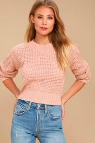 Campfire Cozy Blush Pink Cropped Sweater at Lulus.com!