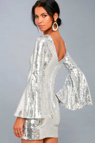 BEAMING BELLE SILVER SEQUIN BELL SLEEVE DRESS at Lulus.com!