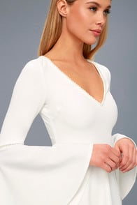 Romantic Intention White Pearl Bell Sleeve Skater Dress at Lulus.com!