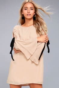 CHERISH BEIGE LONG SLEEVE SHIFT DRESS at Lulus.com!