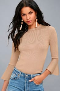 ON MY LEVEL TAUPE FLOUNCE SLEEVE SWEATER TOP at Lulus.com!