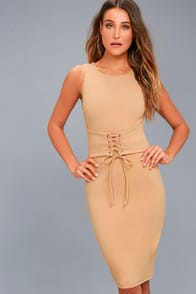 SAY SO NUDE LACE-UP BODYCON MIDI DRESS at Lulus.com!