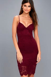 Versailles Burgundy Lace Bodycon Midi Dress at Lulus.com!