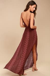 MALIBU BABY BURGUNDY PRINT MAXI DRESS at Lulus.com!