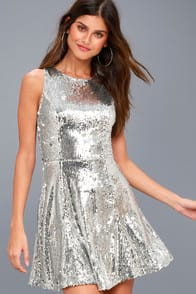 City Dreams Silver Sequin Sleeveless Skater Dress at Lulus.com!