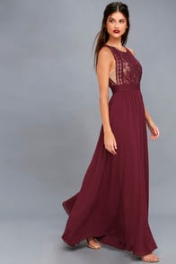Forever and Always Burgundy Lace Maxi Dress at Lulus.com!