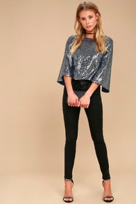 Captivate Navy Blue Sequin Crop Top at Lulus.com!