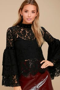 Love on Top Black Sheer Lace Long Sleeve Top at Lulus.com!