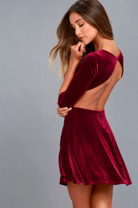 Charisma and Charm Burgundy Velvet Backless Dress at Lulus.com!