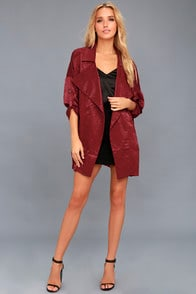 HIGH-SPIRITED BURGUNDY SATIN JACKET at Lulus.com!