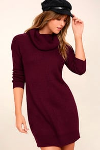 Tea Reader Burgundy Sweater Dress at Lulus.com!