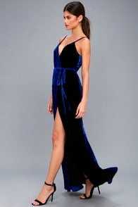 BEST OF BOTH BLACK AND ROYAL BLUE VELVET MAXI WRAP DRESS at Lulus.com!