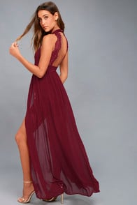 My Beloved Burgundy Lace Maxi Dress at Lulus.com!