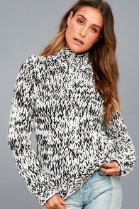 Braxton Black and White Funnel Neck Knit Sweater at Lulus.com!