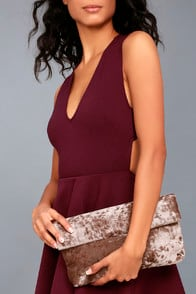 On a Roll Taupe Velvet Clutch at Lulus.com!
