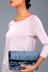 ON A ROLL NAVY BLUE VELVET CLUTCH at Lulus.com!