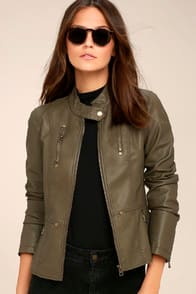 PEACE OF MIND OLIVE GREEN VEGAN LEATHER MOTO JACKET $74 at Lulus.com!