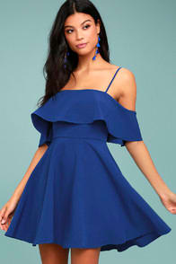 Waterfront Royal Blue Off-the-Shoulder Skater Dress at Lulus.com!