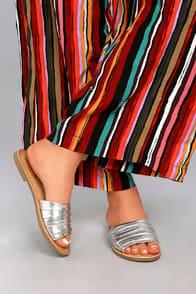 Zola Silver Slide Sandals at Lulus.com!