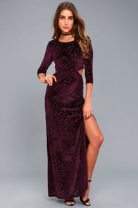 Perfect Night Plum Purple Velvet Print Maxi Dress at Lulus.com!