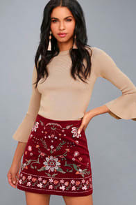 MOUNTAIN HIGH BURGUNDY EMBROIDERED CORDUROY MINI SKIRT at Lulus.com!