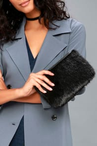 Fur is the Word Black Faux Fur Clutch at Lulus.com!