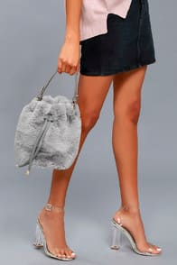 Pre-fur-ed Choice Grey Faux Fur Bucket Bag at Lulus.com!