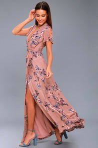 Fiorire Rusty Rose Floral Print Wrap Maxi Dress at Lulus.com!