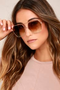 FUNKY TOWN BROWN AND GOLD AVIATOR SUNGLASSES at Lulus.com!