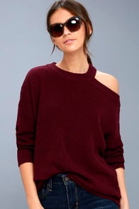 Sleigh Ride Burgundy Cutout Sweater at Lulus.com!