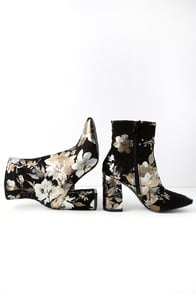 My Generation Black Floral High Heel Mid-Calf Boots at Lulus.com!