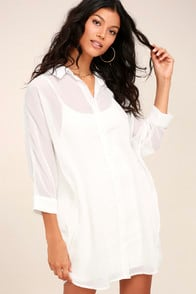 IN THE TROPICS SHEER WHITE SHIRT DRESS at Lulus.com!