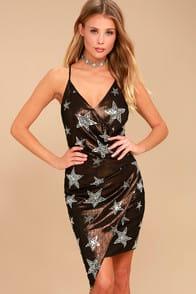 Giada Bronze and Silver Star Print Sequin Wrap Dress at Lulus.com!