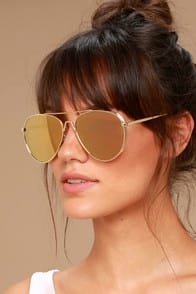 TOP SUN GOLD AND PINK MIRRORED AVIATOR SUNGLASSES at Lulus.com!